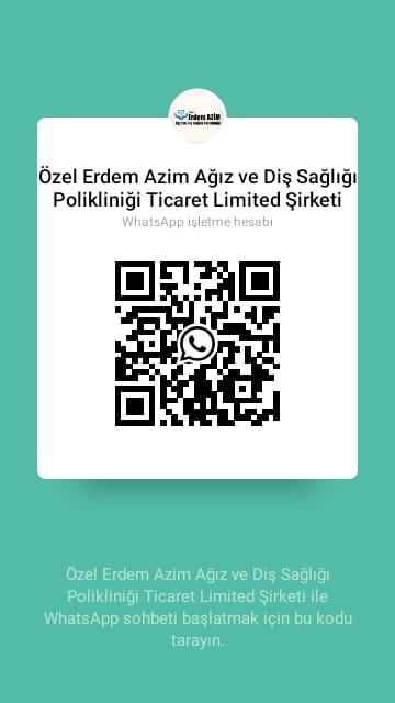 Özel Erdem Azim Ağız ve Diş Sağlığı Polikliniği Ticaret Limited Şirketi adlı işletmeye WhatsApp'tan mesaj gönderin.